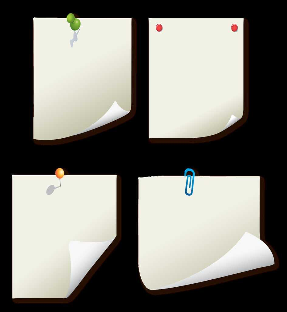 message papers, post its, paper clip art